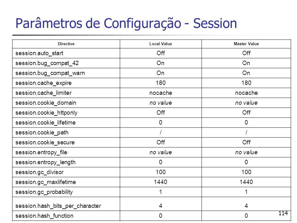 114 Parâmetros de Configuração - Session DirectiveLocal ValueMaster Value session.auto_startOff session.bug_compat_42On session.bug_compat_warnOn sess