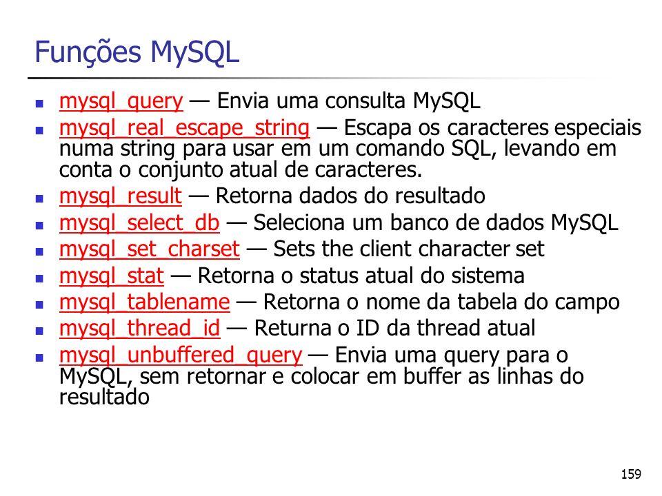 159 Funções MySQL mysql_query Envia uma consulta MySQL mysql_query mysql_real_escape_string Escapa os caracteres especiais numa string para usar em um