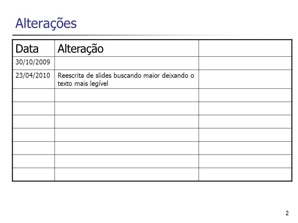 2 Alterações DataAlteração 30/10/2009 23/04/2010Reescrita de slides buscando maior deixando o texto mais legível