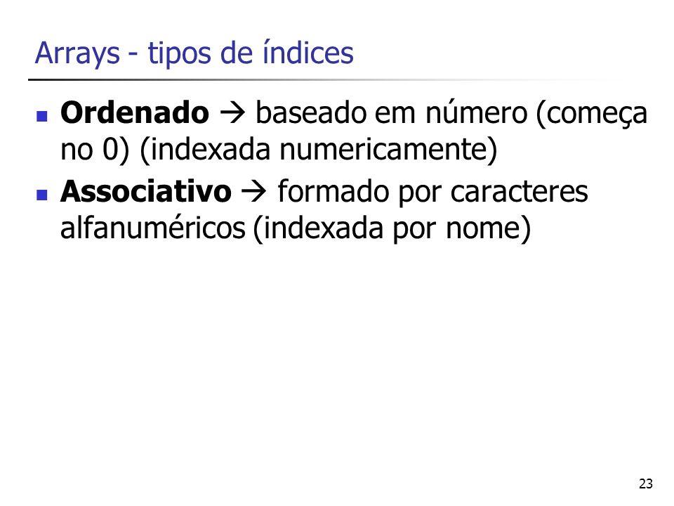 23 Arrays - tipos de índices Ordenado baseado em número (começa no 0) (indexada numericamente) Associativo formado por caracteres alfanuméricos (index