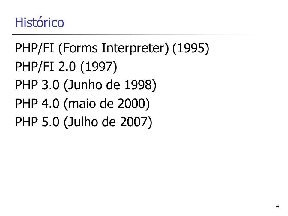 4 Histórico PHP/FI (Forms Interpreter) (1995) PHP/FI 2.0 (1997) PHP 3.0 (Junho de 1998) PHP 4.0 (maio de 2000) PHP 5.0 (Julho de 2007)