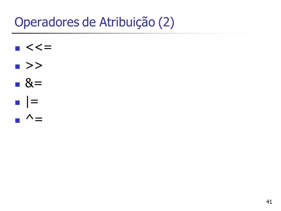 42 Operadores Bit a Bit & (and) – operação E | (or) – operação OU ^ (xor) – operação OU-exclusivo ~ (not) – operação NÃO << - deslocamento de bits a esquerda multiplicação por 2 >> - deslocamento de bits a direita divisão por 2