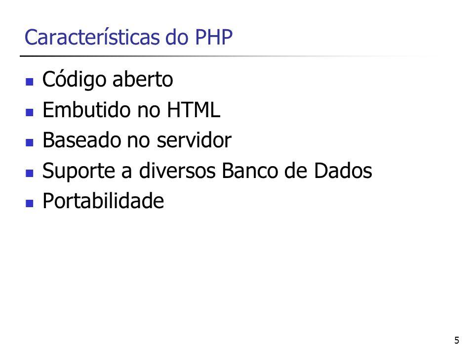 5 Características do PHP Código aberto Embutido no HTML Baseado no servidor Suporte a diversos Banco de Dados Portabilidade