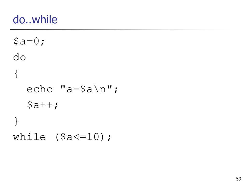 59 do..while $a=0; do { echo