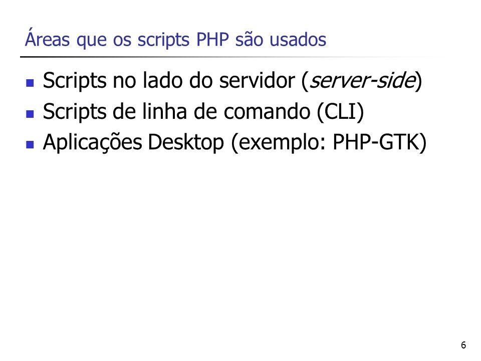6 Áreas que os scripts PHP são usados Scripts no lado do servidor (server-side) Scripts de linha de comando (CLI) Aplicações Desktop (exemplo: PHP-GTK
