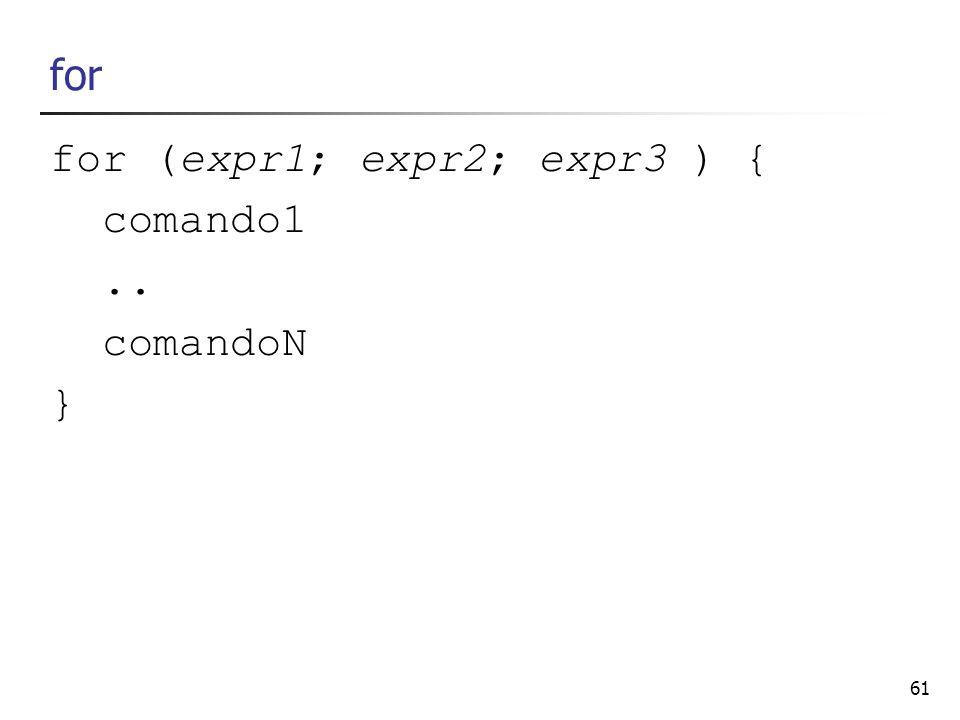 61 for for (expr1; expr2; expr3 ) { comando1.. comandoN }
