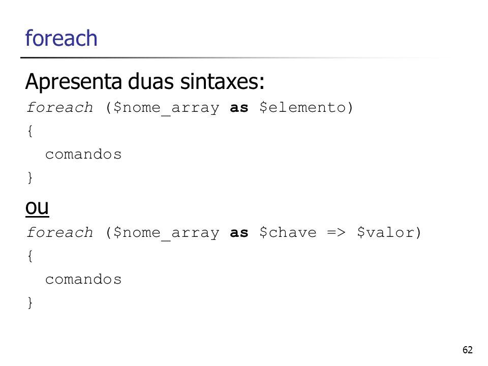 62 foreach Apresenta duas sintaxes: foreach ($nome_array as $elemento) { comandos } ou foreach ($nome_array as $chave => $valor) { comandos }