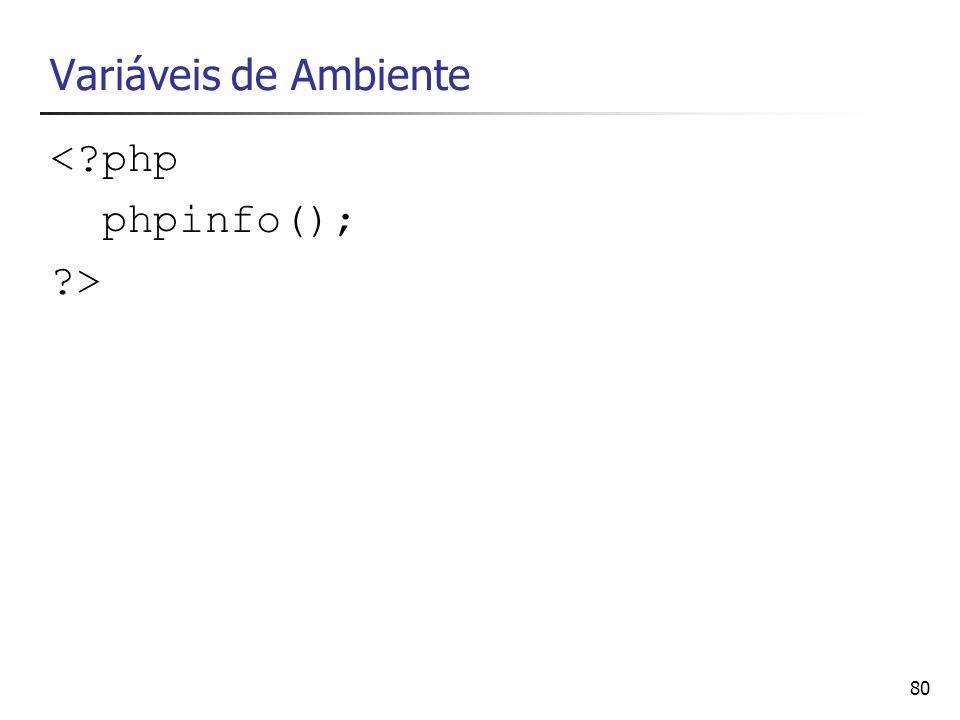 80 Variáveis de Ambiente <?php phpinfo(); ?>
