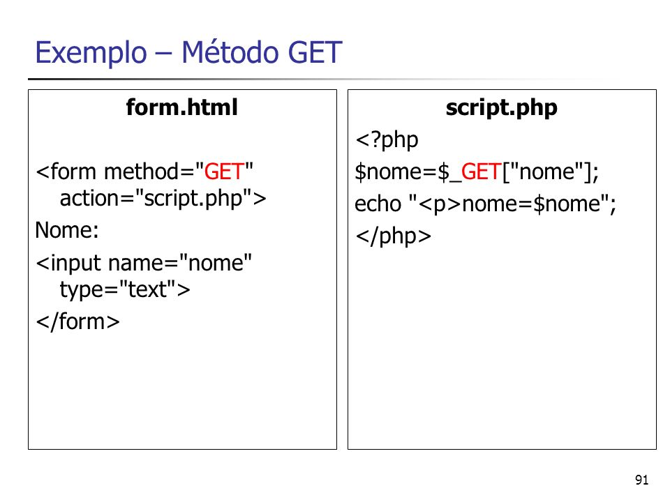 91 Exemplo – Método GET form.html Nome: script.php <?php $nome=$_GET[