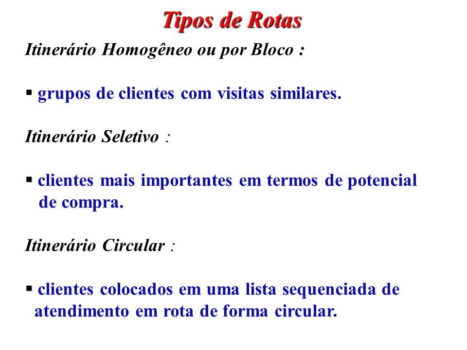 Tipos de Rotas Itinerário Homogêneo ou por Bloco : grupos de clientes com visitas similares. : Itinerário Seletivo : clientes mais importantes em term