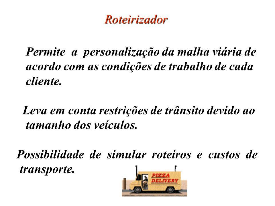 Roteirizador Permite a personalização da malha viária de acordo com as condições de trabalho de cada cliente. Leva em conta restrições de trânsito dev