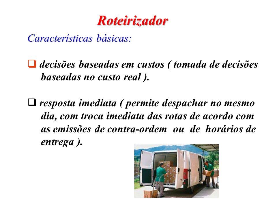 Roteirizador Características básicas: decisões baseadas em custos ( tomada de decisões baseadas no custo real ). resposta imediata ( permite despachar