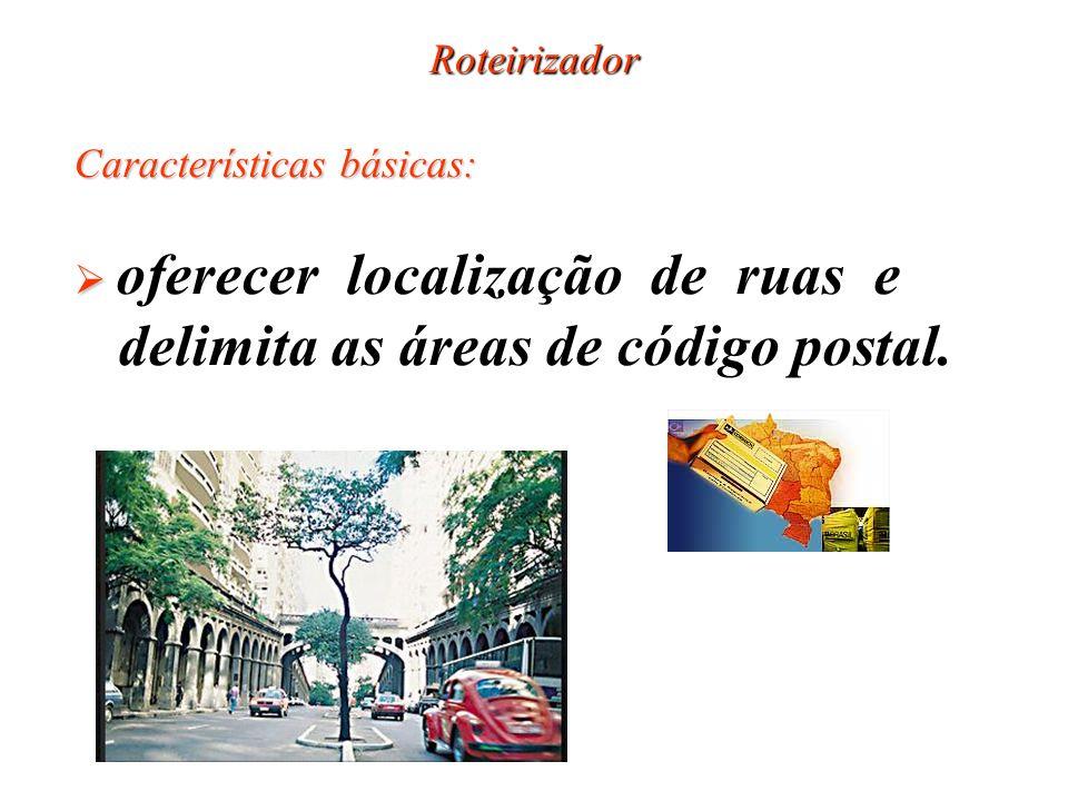Roteirizador Características básicas: oferecer localização de ruas e delimita as áreas de código postal.