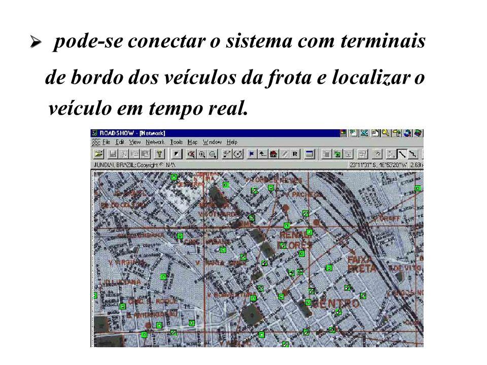 pode-se conectar o sistema com terminais de bordo dos veículos da frota e localizar o veículo em tempo real.