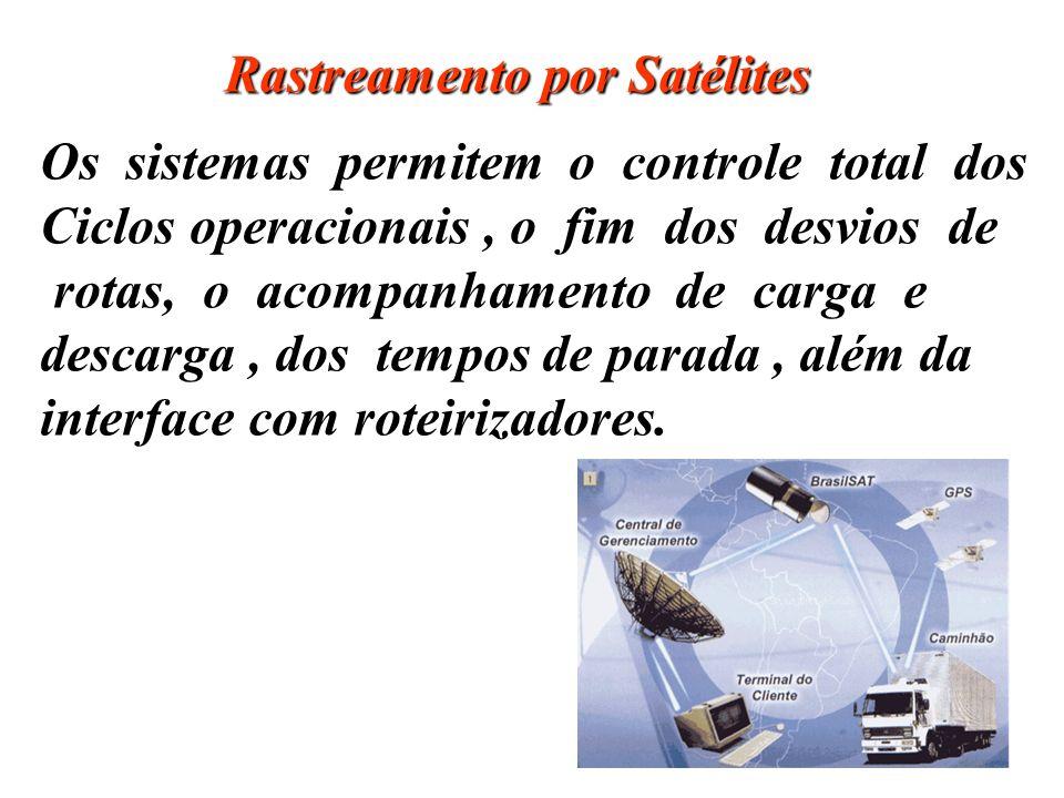 Rastreamento por Satélites Os sistemas permitem o controle total dos Ciclos operacionais, o fim dos desvios de rotas, o acompanhamento de carga e desc