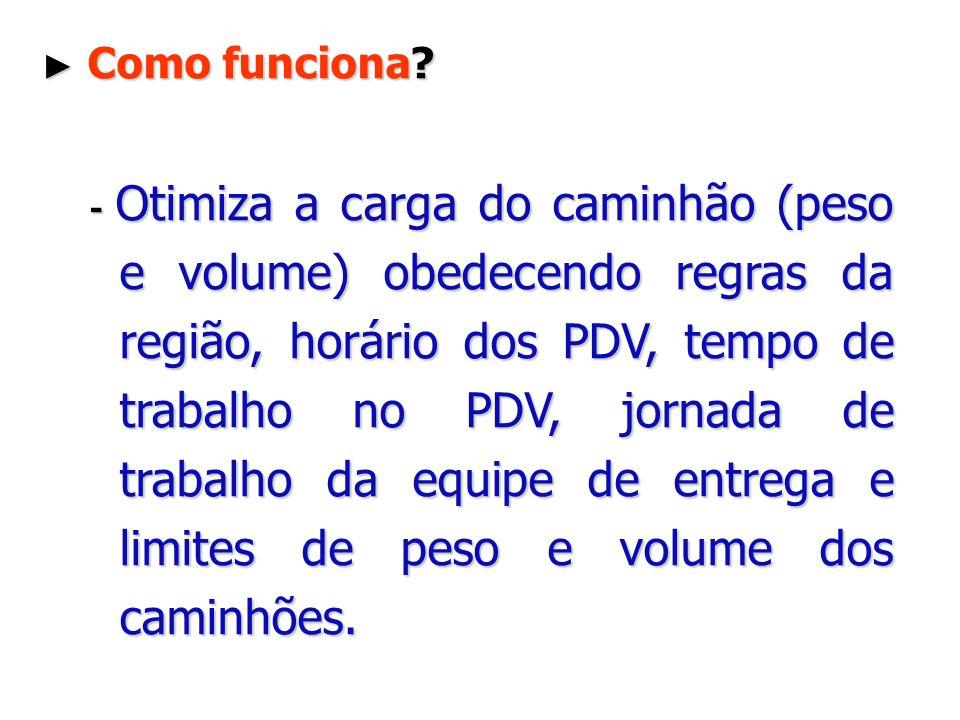 Como funciona? Como funciona? - Otimiza a carga do caminhão (peso e volume) obedecendo regras da região, horário dos PDV, tempo de trabalho no PDV, jo