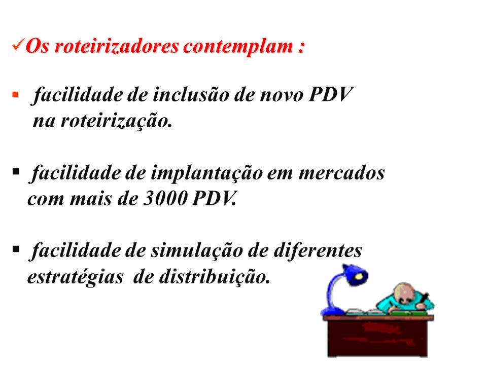 Os roteirizadores contemplam : Os roteirizadores contemplam : facilidade de inclusão de novo PDV na roteirização. facilidade de implantação em mercado