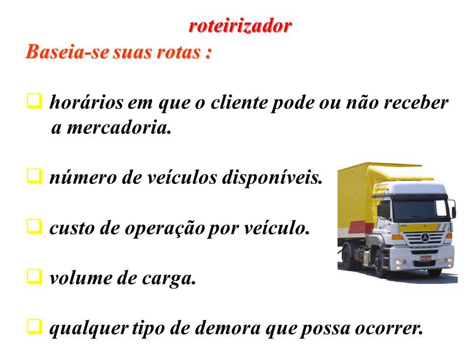 Baseia-se suas rotas : horários em que o cliente pode ou não receber a mercadoria. número de veículos disponíveis. custo de operação por veículo. volu