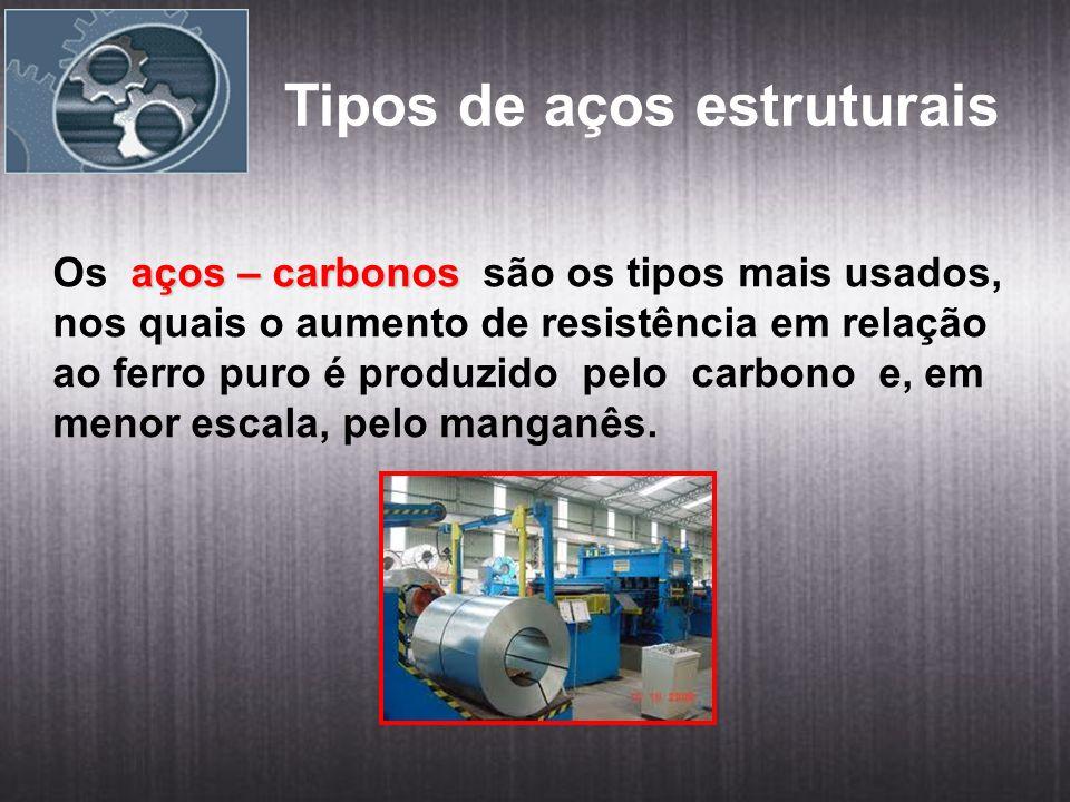 Tipos de aços estruturais aços – carbonos Os aços – carbonos são os tipos mais usados, nos quais o aumento de resistência em relação ao ferro puro é produzido pelo carbono e, em menor escala, pelo manganês.