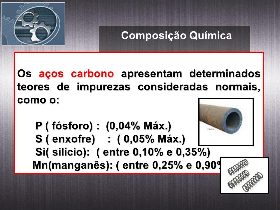 Composição Química aços carbono apresentam determinados teores de impurezas consideradas normais, como o: Os aços carbono apresentam determinados teores de impurezas consideradas normais, como o: P ( fósforo) : (0,04% Máx.) P ( fósforo) : (0,04% Máx.) S ( enxofre) : ( 0,05% Máx.) S ( enxofre) : ( 0,05% Máx.) Si( silício): ( entre 0,10% e 0,35%) Si( silício): ( entre 0,10% e 0,35%) Mn(manganês): ( entre 0,25% e 0,90%).