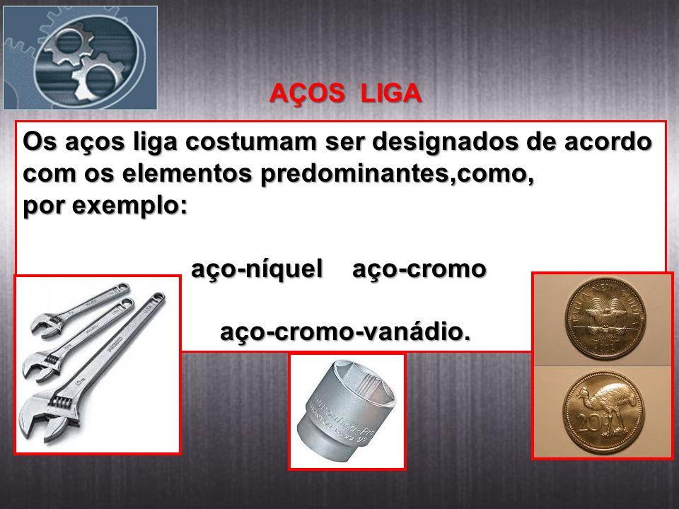 AÇOS LIGA Os aços liga costumam ser designados de acordo com os elementos predominantes,como, por exemplo: aço-níquel aço-cromo aço-níquel aço-cromo aço-cromo-vanádio.