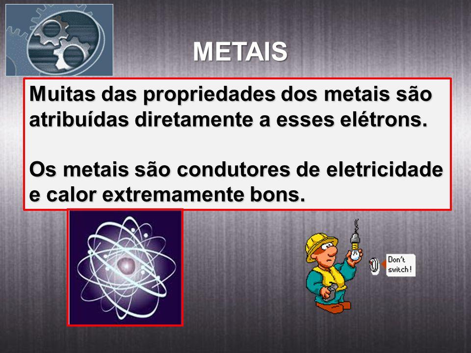 METAIS Muitas das propriedades dos metais são atribuídas diretamente a esses elétrons. Os metais são condutores de eletricidade e calor extremamente b