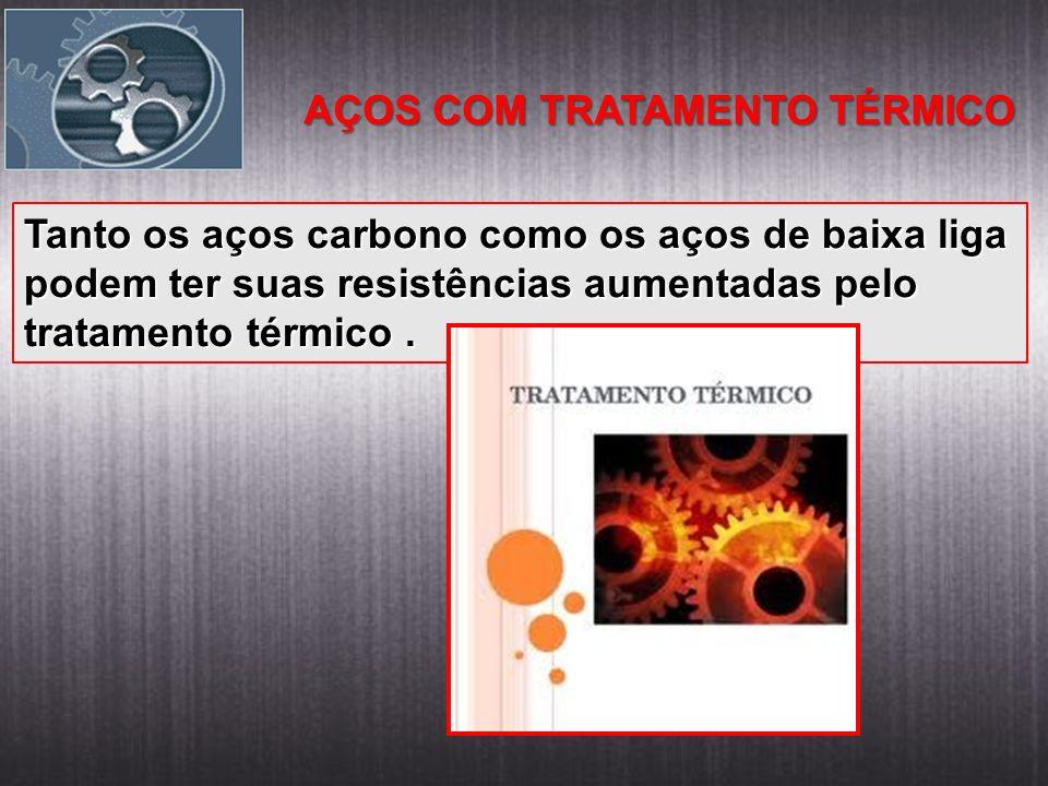 AÇOS COM TRATAMENTO TÉRMICO Tanto os aços carbono como os aços de baixa liga podem ter suas resistências aumentadas pelo tratamento térmico.