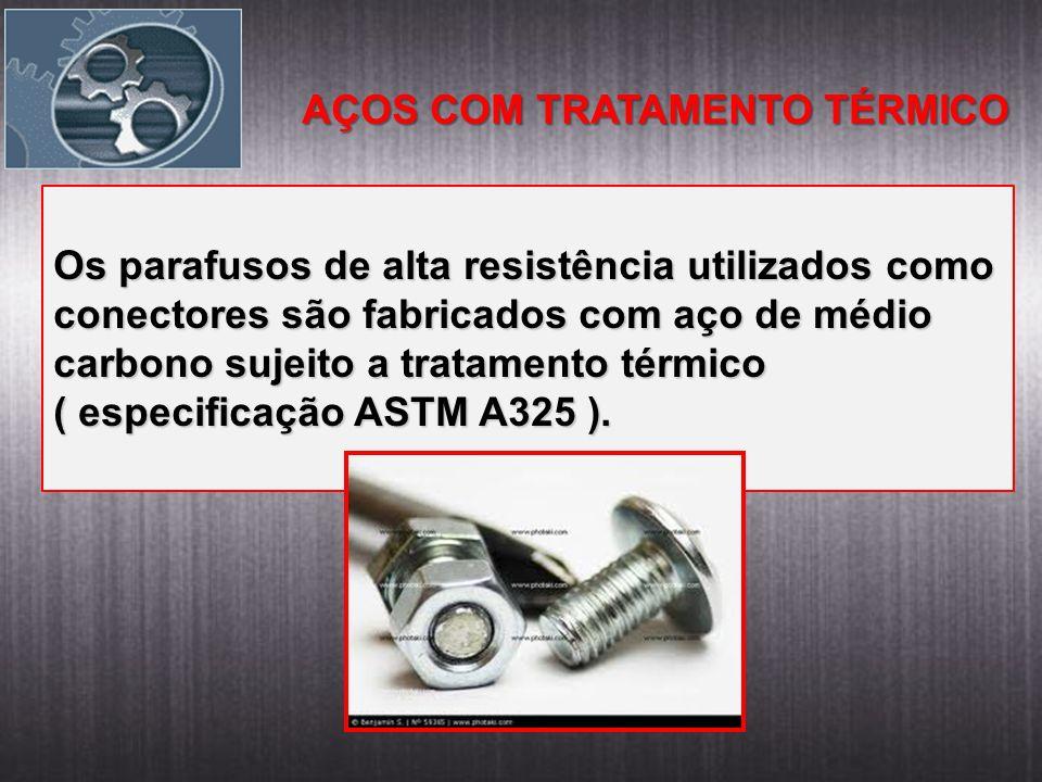 AÇOS COM TRATAMENTO TÉRMICO Os parafusos de alta resistência utilizados como conectores são fabricados com aço de médio carbono sujeito a tratamento t