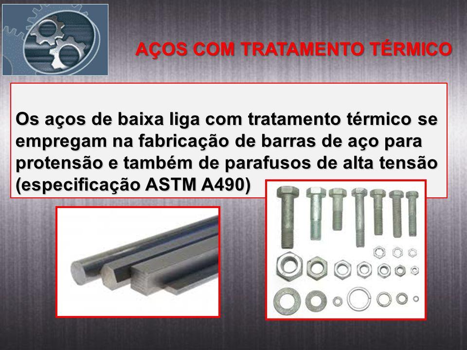 AÇOS COM TRATAMENTO TÉRMICO Os aços de baixa liga com tratamento térmico se empregam na fabricação de barras de aço para protensão e também de parafusos de alta tensão (especificação ASTM A490)