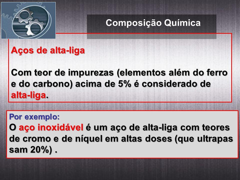 Composição Química Aços de alta-liga Com teor de impurezas (elementos além do ferro e do carbono) acima de 5% é considerado de alta-liga. Por exemplo: