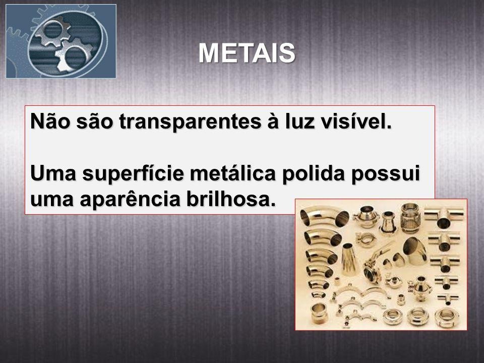 METAIS Não são transparentes à luz visível. Uma superfície metálica polida possui uma aparência brilhosa.