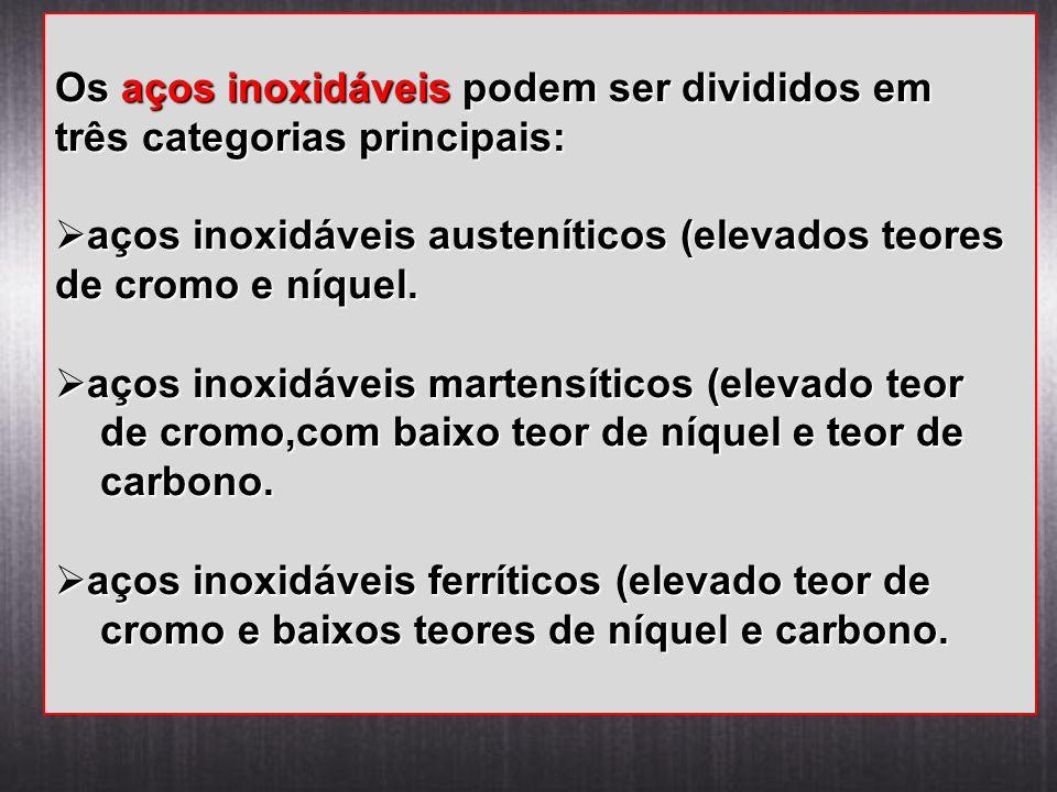 Os aços inoxidáveis podem ser divididos em três categorias principais: aços inoxidáveis austeníticos (elevados teores de cromo e níquel. aços inoxidáv