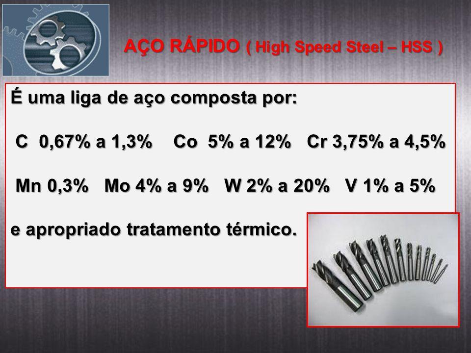 AÇO RÁPIDO ( High Speed Steel – HSS ) É uma liga de aço composta por: C 0,67% a 1,3% Co 5% a 12% Cr 3,75% a 4,5% C 0,67% a 1,3% Co 5% a 12% Cr 3,75% a 4,5% Mn 0,3% Mo 4% a 9% W 2% a 20% V 1% a 5% Mn 0,3% Mo 4% a 9% W 2% a 20% V 1% a 5% e apropriado tratamento térmico.