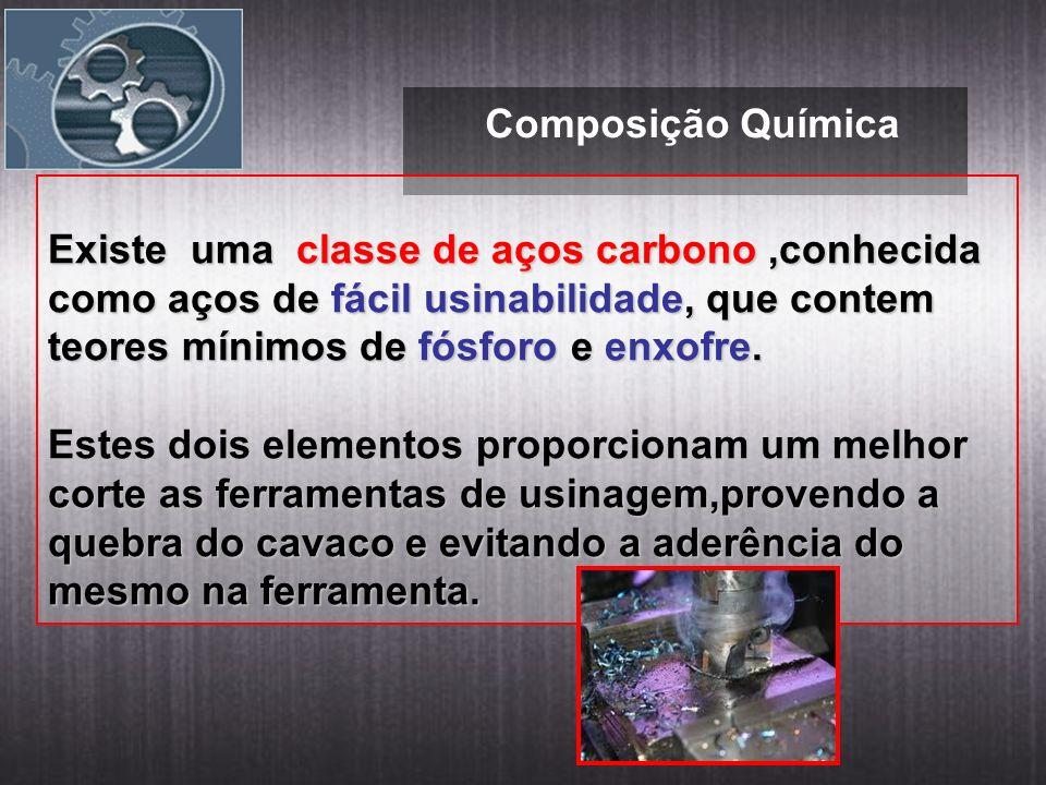 Composição Química Existe uma classe de aços carbono,conhecida como aços de fácil usinabilidade, que contem teores mínimos de fósforo e enxofre. Estes
