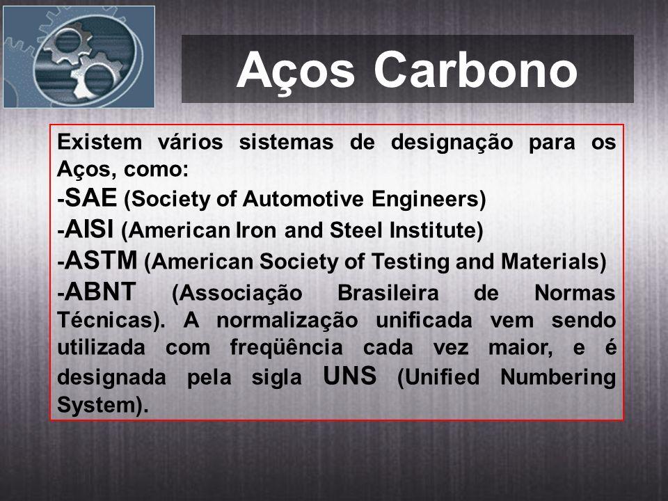 Aços Carbono Existem vários sistemas de designação para os Aços, como: - SAE (Society of Automotive Engineers) - AISI (American Iron and Steel Institute) - ASTM (American Society of Testing and Materials) - ABNT (Associação Brasileira de Normas Técnicas).