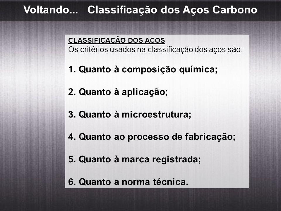 Voltando... Classificação dos Aços Carbono CLASSIFICAÇÃO DOS AÇOS Os critérios usados na classificação dos aços são: 1.Quanto à composição química; 2.