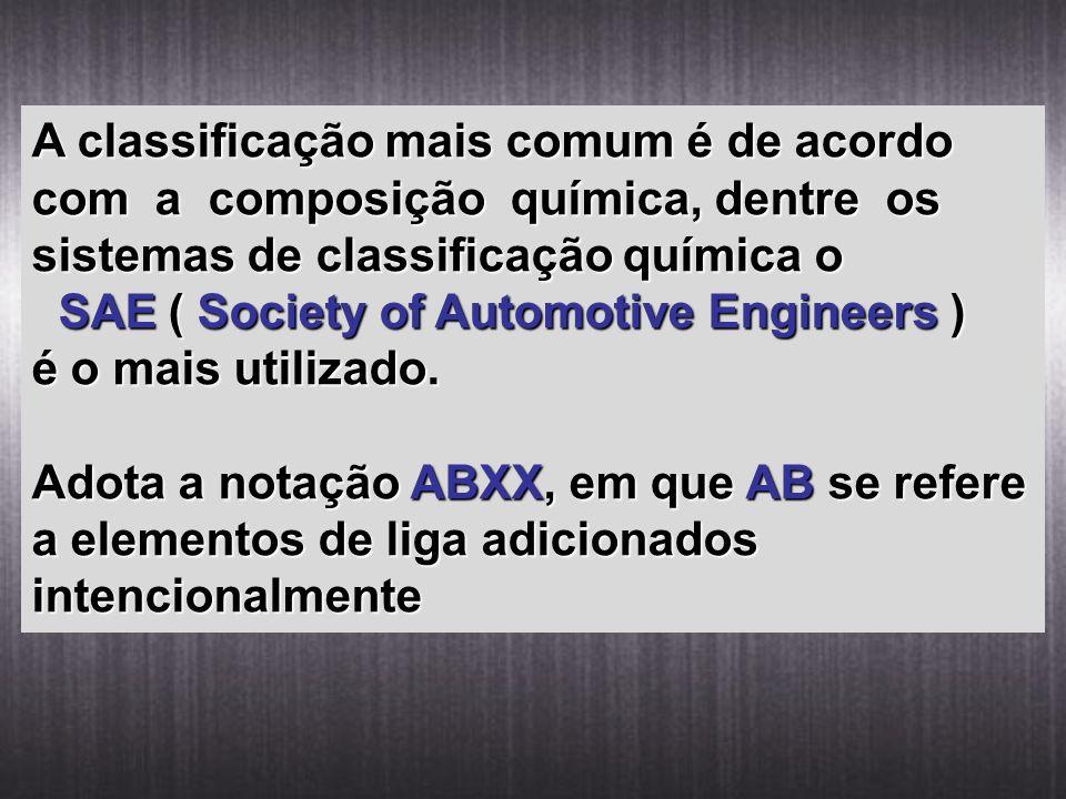 A classificação mais comum é de acordo com a composição química, dentre os sistemas de classificação química o SAE ( Society of Automotive Engineers )