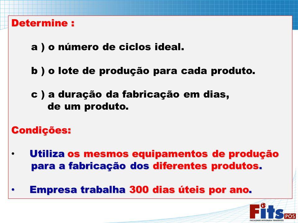 Determine : a ) o número de ciclos ideal. b ) o lote de produção para cada produto. c ) a duração da fabricação em dias, de um produto.Condições: Util