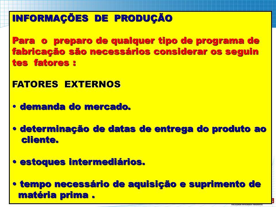 INFORMAÇÕES DE PRODUÇÃO Para o preparo de qualquer tipo de programa de fabricação são necessários considerar os seguin tes fatores : FATORES EXTERNOS