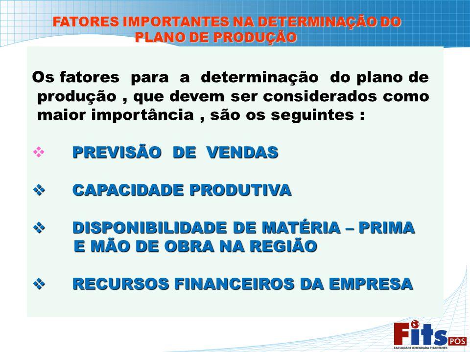 FATORES IMPORTANTES NA DETERMINAÇÃO DO PLANO DE PRODUÇÃO PLANO DE PRODUÇÃO Os fatores para a determinação do plano de produção, que devem ser consider