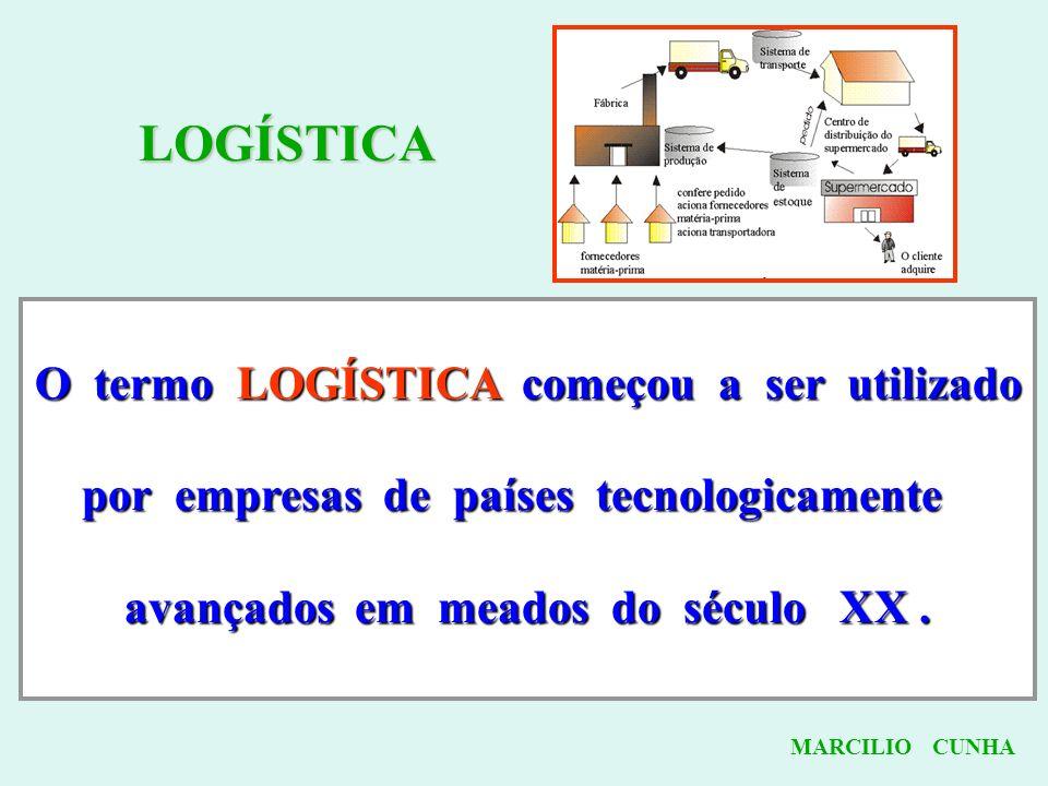 LOGÍSTICA O termo LOGÍSTICA começou a ser utilizado por empresas de países tecnologicamente avançados em meados do século XX. MARCILIO CUNHA