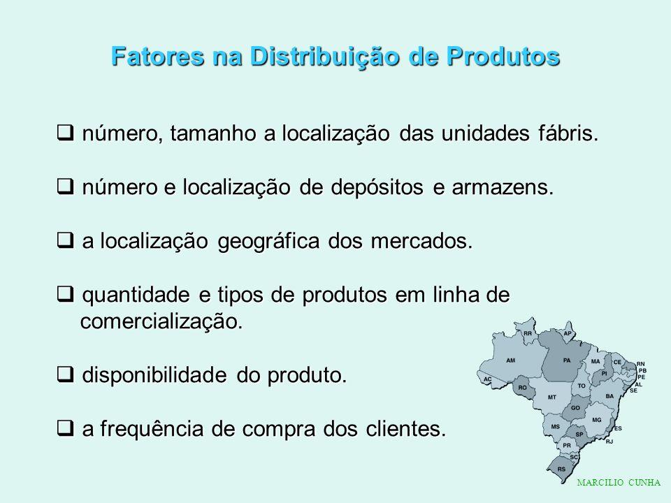 Fatores na Distribuição de Produtos número, tamanho a localização das unidades fábris. número, tamanho a localização das unidades fábris. número e loc