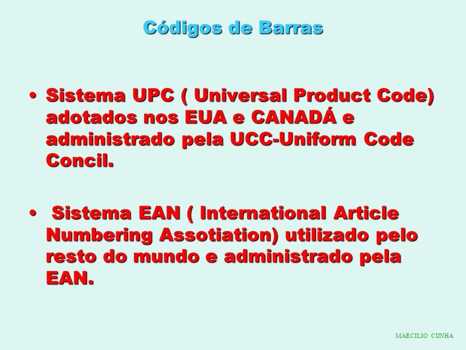 Códigos de Barras Sistema UPC ( Universal Product Code) adotados nos EUA e CANADÁ e administrado pela UCC-Uniform Code Concil.Sistema UPC ( Universal