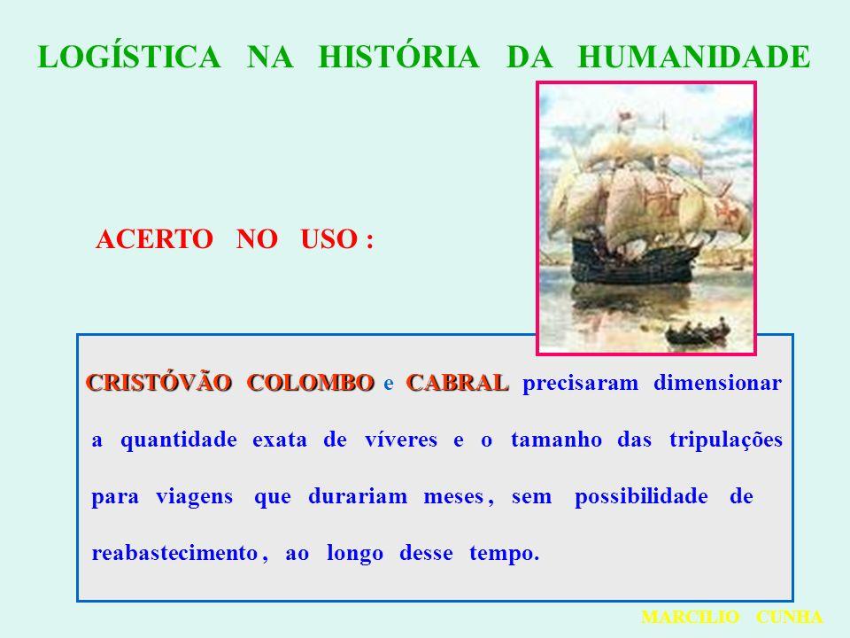 LOGÍSTICA NA HISTÓRIA DA HUMANIDADE ACERTO NO USO : CRISTÓVÃO COLOMBOCABRAL CRISTÓVÃO COLOMBO e CABRAL precisaram dimensionar a quantidade exata de ví