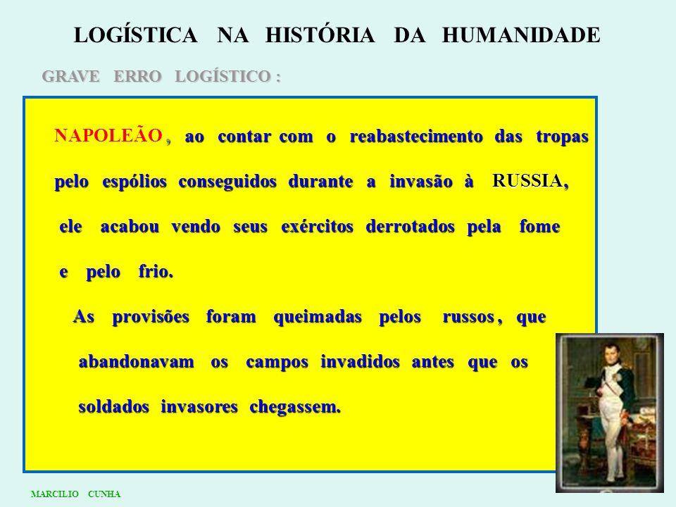 LOGÍSTICA NA HISTÓRIA DA HUMANIDADE GRAVE ERRO LOGÍSTICO :, ao contar com o reabastecimento das tropas NAPOLEÃO, ao contar com o reabastecimento das t