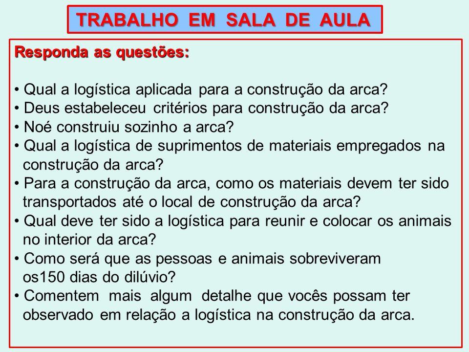 TRABALHO EM SALA DE AULA Responda as questões: Qual a logística aplicada para a construção da arca? Deus estabeleceu critérios para construção da arca