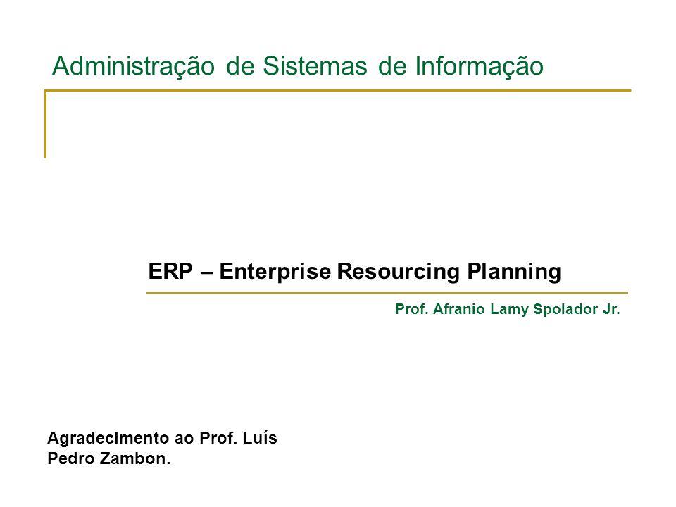 Administração de Sistemas de Informação ERP – Enterprise Resourcing Planning Prof. Afranio Lamy Spolador Jr. Agradecimento ao Prof. Luís Pedro Zambon.
