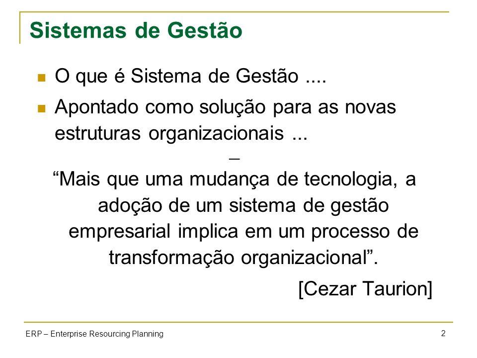 2 ERP – Enterprise Resourcing Planning Sistemas de Gestão O que é Sistema de Gestão.... Apontado como solução para as novas estruturas organizacionais