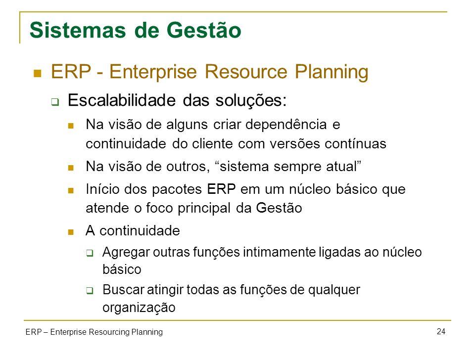 24 ERP – Enterprise Resourcing Planning Sistemas de Gestão ERP - Enterprise Resource Planning Escalabilidade das soluções: Na visão de alguns criar de
