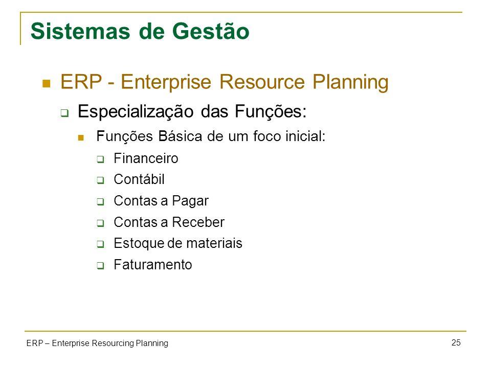 25 ERP – Enterprise Resourcing Planning Sistemas de Gestão ERP - Enterprise Resource Planning Especialização das Funções: Funções Básica de um foco in